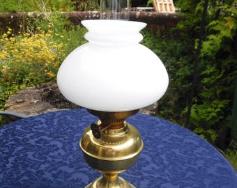 Oil Lamp with Glass Chimney & White Glass Shade