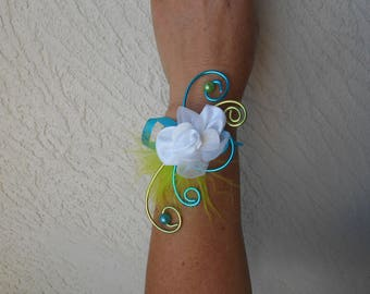 Flowers for bride or witness - white lime and turquoise bracelet