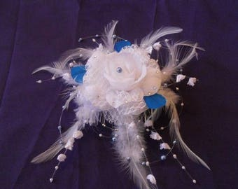 Headpiece comb bridal white and blue