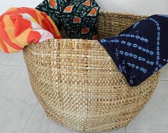 Big XL woven African basket band and raffia decoration ethnic and Bohemian