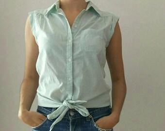 Naf naf vintage blouse. Pastel green and white