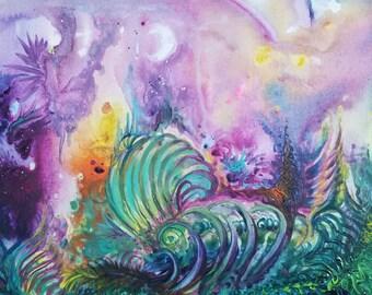 """11"""" x 14"""" Acrylic Painting, Alien Landscape"""