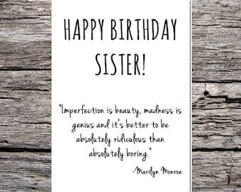 inspirational funny birthday card happy birthday sister marilyn monroe quote #1