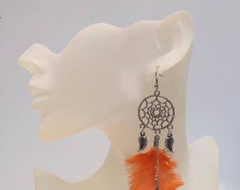Dream catcher earrings orange feathers