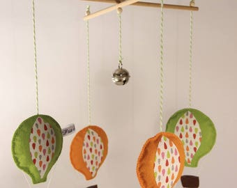 Pretty green and orange hot air balloons mobile.