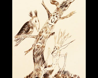 Ink drawing and his Raven tree