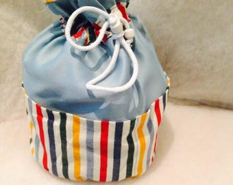 Pouch / toiletry bag REVERSIBLE stripes 5 pockets