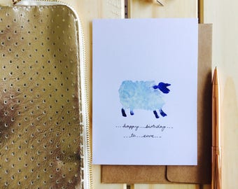 Sheep happy birthday to ewe card hand painted blue farmyard cute original artwork