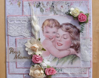 day of the mothers look shabby card old mother child lace tulle flowers