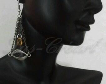 Dangling earrings, Pearl drop - By Lily Creart'