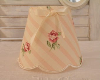Lampshade for sconces and chandeliers ivory pink striped background, romantic and shabby