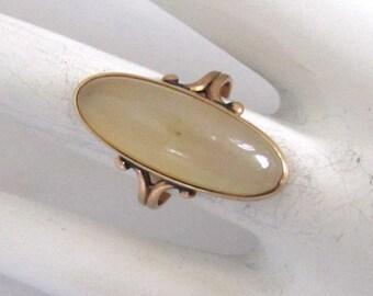 Art Nouveau Rose Gold-Filled Moonstone Ring