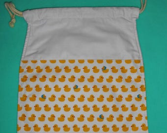 Bag / pouch fully lined with DrawString - fabric ducklings - new, handmade