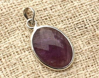 n17 - 925 sterling silver pendant and stone - Amethyst oval Facettee 23x17mm