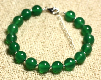 925 sterling silver and gemstone - 8mm Green Onyx bracelet