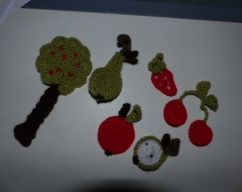 set of fruit and trees made crochet