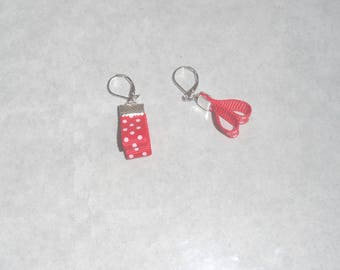 Red and White Ribbon earrings
