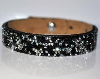Rock black and white Swarovski leather bracelet unique!