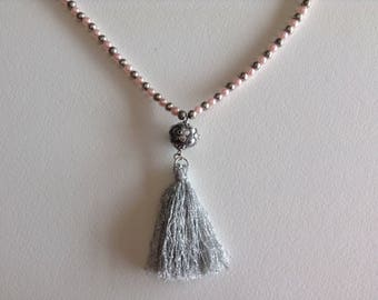 Pink and grey Pearl Necklace kashmiri