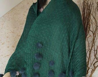 angora Cape with bottle green rabbit fur tassels
