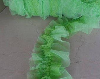 1 meter of trim in lime green elastic lace width 7 cm