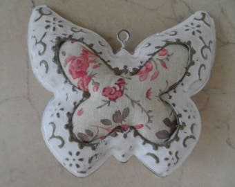 charm metal butterfly and fabric 10 x 10.5 cm