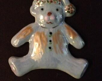 Decorative hanging porcelain Christmas Teddy bear