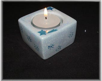 Candle holder in porcelain blue Dimensions: 6 cm and height 4 cm square