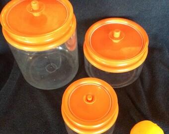 Tupperware canister set, orange counterparts storage, Tupperware acrylic organization storage, Tupperware Orange, Vintage kitchen gift