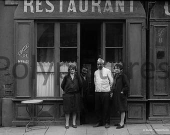 Old photo trade Toulouse Cafe kitchen Restaurant repro an.1920 family