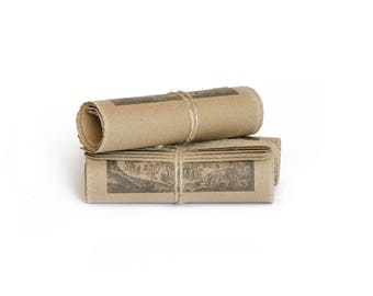 rolled scrolls set of 3 with antique images