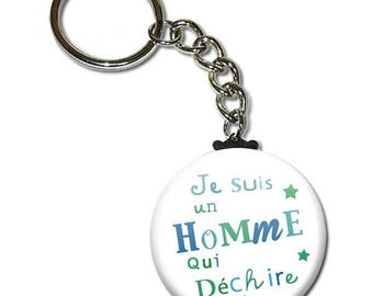 I am a man who rocks key chain 38mm (man husband birthday sweetie Valentine's day gift idea)