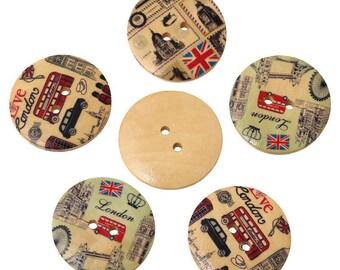 3 big buttons London - BIG BEN - England - 30mm - 2 holes - vintage retro