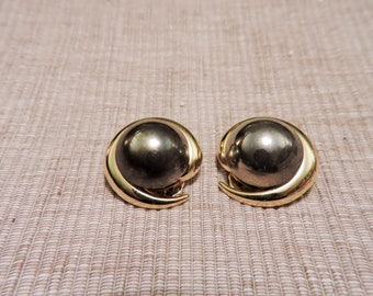 Vintage Gold Tone Metal and Gray Clip on Earrings
