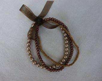 Brown Stretch Bracelet, nougat, wood color,