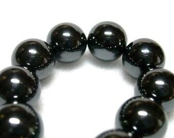 20 Hematite beads round 10 mm ø40