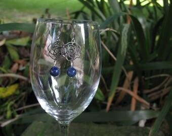 Earrings Lapis lazuli and pink filigree