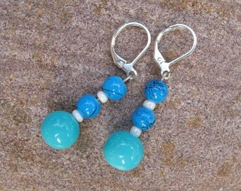 Blue and white glass Pearl Earrings