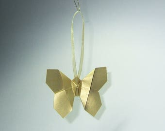 Christmas ornament - Set of 5 Golden origami butterflies