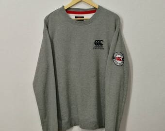 RARE!! Vintage Canterbury of New Zealand Big Logo Emblem Spell Out Embroidery Sweatshirt Jumper Pullover