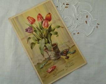 Old postcard / tulips bouquet Decor / 1920s