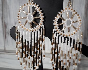 Gold and white miyuki beads earrings