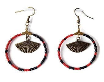 Earrings black and Red seed beads range