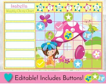 Chore Chart, Reward Chart, Behaviour and Responsibility Chart, Editable Fairy Printable Chart, Task Chart, Toddler Chart, Routine Incentive