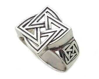 Slavic Symbol Ethnic Men Ring Sterling Solid Silver 925 SKU30198