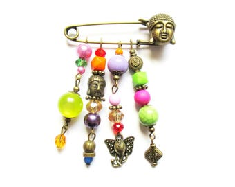 ethnic brooch Buddha ganesh pendants beads multicolor metal bronze B50