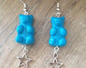 Earrings blue starred bear: