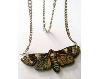 Wooden Brown Moth Necklace
