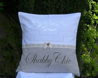 Pillow is romantic and shabby chic metis and old linen with inscription in painting