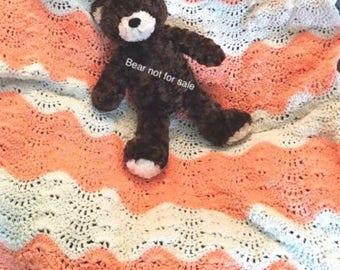 Crocheted Baby Blanket Chevron Baby Blanket, Stroller Blanket Baby Gift, Swaddling Blanket Newborn Blanket, Baby Girl Blanket Shower